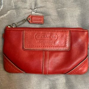 Coach Red Leather Pouch/Cosmetic Bag